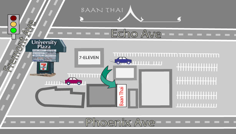 map of University Plaza showing location of Baan Thai Restaurant in Seaside, CA