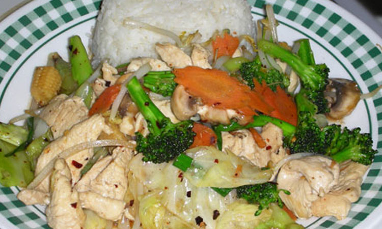 Mixed Vegetable with Meat over Rice
