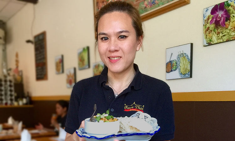 Mookie serving Khao Tung Appetizer